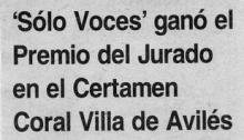 Sólo Voces ganó el Premio del Jurado en el Certamen Coral Villa de Avilés